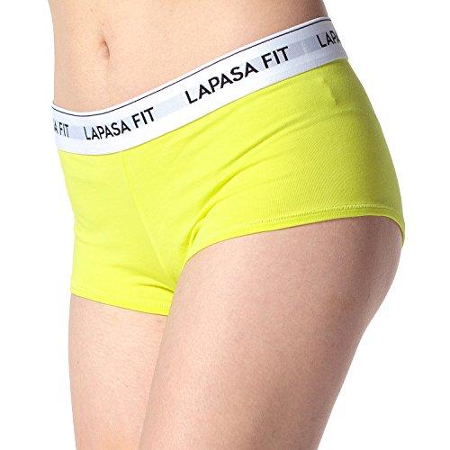 Lapasa Damen Panties Hipster, 2er Pack Damen Unterhosen Baumwolle, Damen Unterwäsche Set in 13 Farben, super weich und luftig, L005 Zitronengelb