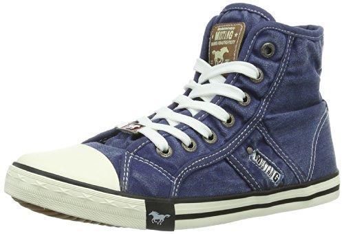 Mustang Booty 1099-502-841 Damen Sneaker, Blau (841 jeansblau), 37 EU (Super-high-top-sneaker)