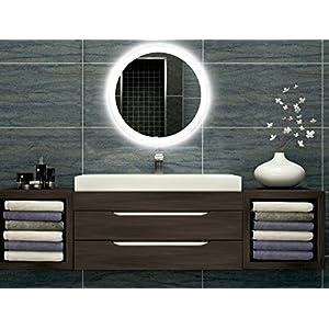 Badezimmerspiegel mit Beleuchtung LED Spiegel - 50 cm Durchmesser - runder Badspiegel mit Licht - Design Spiegel für Bad und Gäste WC hinterleuchtet - beleuchteter Wandspiegel Rahmenlos - O-LED_FI