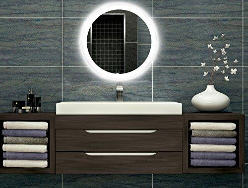 Badezimmerspiegel mit Beleuchtung LED Spiegel - 40 cm Durchmesser - runder Badspiegel mit Licht - Design Spiegel für Bad und Gäste WC hinterleuchtet - beleuchteter Wandspiegel Rahmenlos - O-LED_FI