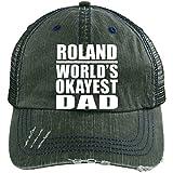 Roland World's Okayest Dad - Distressed Trucker Cap Dark Green/Navy / One Size, Auf Alt Getrimmt Trucker Kappe Golfkappe Baseballmütze Baseballkappe