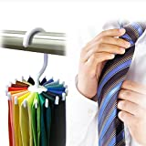 #4: CONNECTWIDE® 360 Degree Rotate Steering Rack Shelves Adjustable Steering Belts Scarves for Women Hangers Wall Key Storage Holder 20 Skin Care Neck Ties Clothing Organizer