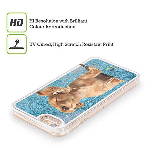Head Case Designs Kleiner Welpe Hört Musik Komische Tiere Himmelblau Handyhülle mit flussigem Glitter für Apple iPhone 5 / 5s / SE Kleiner Welpe Hört Musik