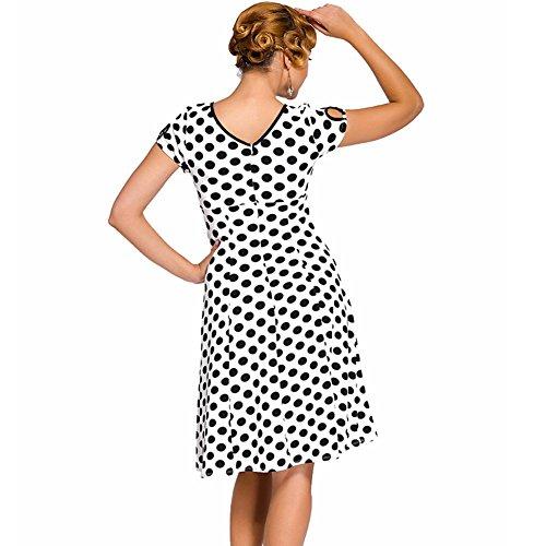 PU&PU Femmes Formal / Travail / Soirée Vintage Hollow Dots Imprimer A Line Robe Haute taille Tour de cou genou longueur Black
