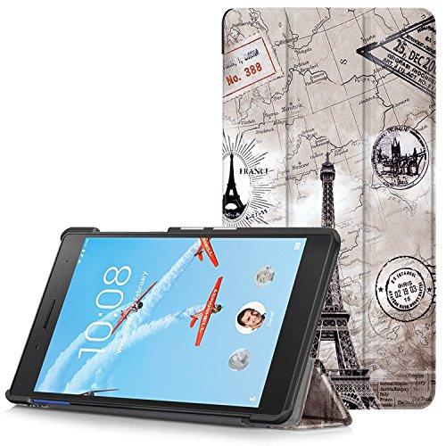 Lenovo Tab 7 Essential Hülle - Ultra Dünn und Leicht PU Leder Schutzhülle mit Standfunktion für Lenovo Tab 7 Essential 17,78 cm (7 Zoll) Tablet-PC, Karte Turm (Nicht für Lenovo Tab3 7 Essential)