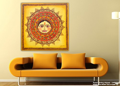 JunkYard Canvas Painting - The Sun God - Surya Dev - Modern Canvas Art  available at amazon for Rs.348