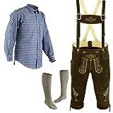 Herren Trachten Lederhose Größe 46-62 Trachten Set,Hose,Hemd,Socken (Lederhose 48 Blau Hemd L Socken 43)