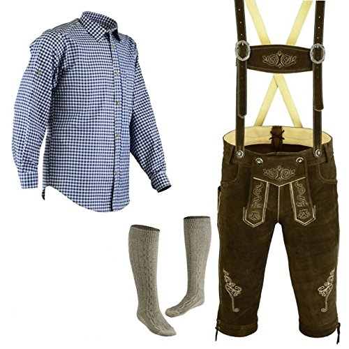 Herren Trachten Lederhose Größe 46-62 Trachten Set,Hose,Hemd,Socken Neu (Lederhose 58 Blau Hemd XXL Socken 46)