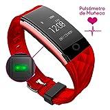 Woxter SmartFit 15 - Reloj deportivo, pulsera de actividad, pulsómetro, IP67, notificaciones SMS, WhatsApp, FB, Skype, color rojo