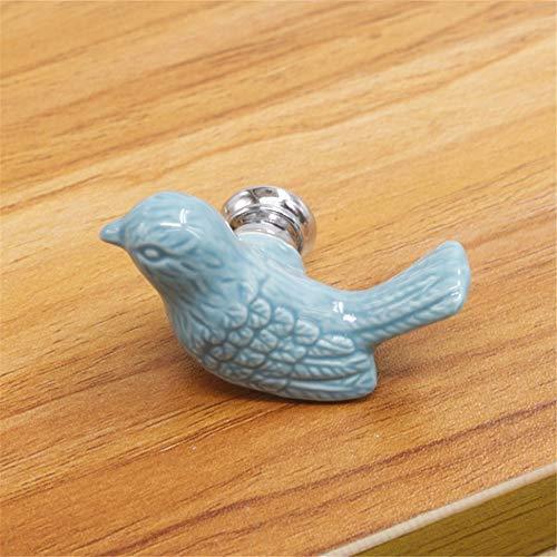 Behandeln Keramischer Türgriff-nette Vogel-geformte Tür-Kabinett-Garderobe Fach-Möbel-Küche (Color : Blue, Size : 55mm) -