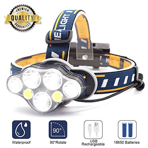 SYOSIN LED Stirnlampe USB Wiederaufladbar Kopflampe, Superheller,Wasserdicht Leichtgewichts Mini Kopfleuchte für Camping,Fischen,Keller,Laufen,Joggen,Wandern,Lesen,Arbeiten (Stirnlampe1)