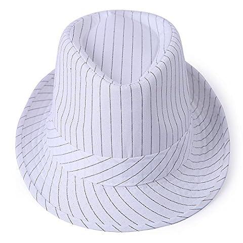 HDE Unisex Fedora Hat Gangster Short Brim Pinstripe Cap (White)