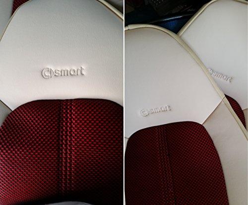 TOPCAR ATHENS Zwei Autositzbezüge Luxus aus synthetischem und Kunstleder, 100% Passgenau, Sitzbezügesets, Farbe Zucker (Hellbeige) und Rot -