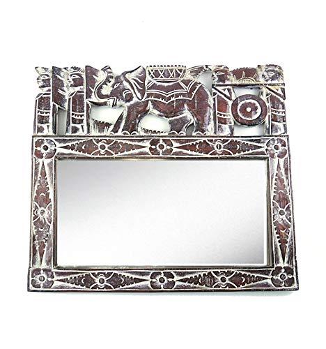 Artigianale Specchio da Parete Etnico 50x 43cm in Legno Motivo Elefante. Decorazione balinaise.