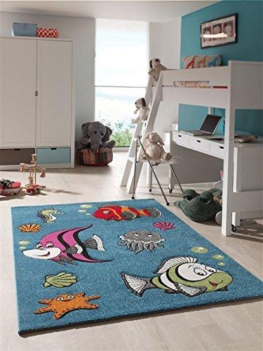 Alfombra infantil Juego Alfombra Dormitorio Juvenil peces acuario Océano Azul Turquesa, 120 x 170 cm