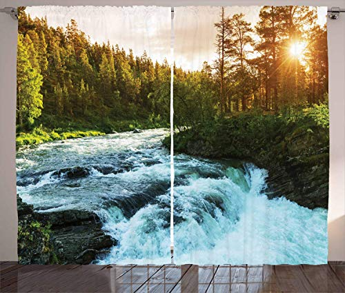 Hmihilu European Curtains, River in Norway Sunrise Sunbeams Through Pine Trees Springtime Scenic, Living Room Bedroom Window Drapes 2 Panel Set,Green 110x95 in -
