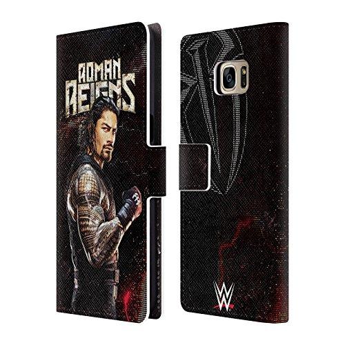 Head Case Designs Offizielle WWE Roman Reigns Superstars Leder Brieftaschen Huelle kompatibel mit Samsung Galaxy S7 Edge (Der Wwe In Edge)