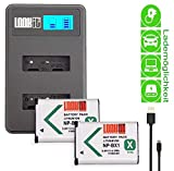 LOOKit LCD Dual Ladegerät + 2x BX1 Akku (echte 1190mAh) für Sony DSC HX99 HX95 HX350 DSC-RX100 V FDR-X3000R HDR-AS300R HX350 DSC-RX100M5 HX80B RX100 IV HDR-AS50 HX90 V RX100 III RX1R HDR-AS100V BX1