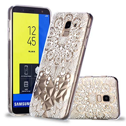 TXLING Samsung Galaxy J6 (2018) handyhülle Schutzhülle Ultra Dünn Soft Silikon hülle Cover Kratzfeste TPU Case Anti Rutsch Silikon Case Cover für Samsung Galaxy J6 (2018) Bumper Case - Weiße Mandala