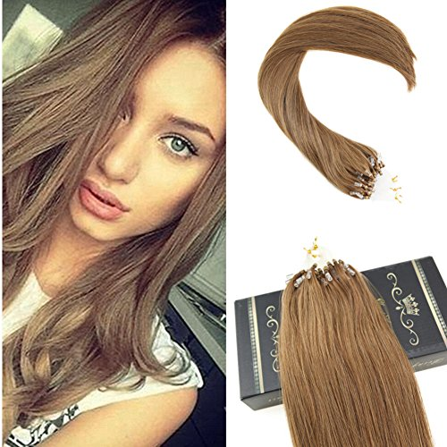Ugeat 50g Micro Ring Extensions Tissage Naturel Chatain 40cm Cheveux Bresilien Tissage Bresilien #8 Light Brown 14Pouces 50brins