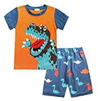 DHASIUE Little Boys Pyjamas Shorts Set Toddler Summer Clothes Dinosaur Sleepwear Cotton 2 Piece Kids Pjs Size 1-7 Years