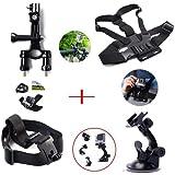 XCSOURCE® ensemble Kit 8 en 1 fixation sur Guidon + ventouse + ceinture pectorale (Harnais de poitrine) + Serre-tête + 2 x joint + 2 x Vis pour GoPro Hero 1 2 3 3+ 4 OS57