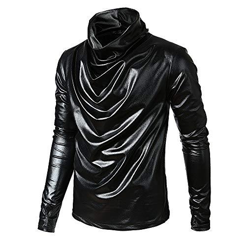 Pullover Für Herren, Wasserfall Pullover Langarm Einfarbig Lackleder Sweatshirt Lange Ärmel T-Shirt Mode Lose Rundhals Langärmlige Hemd Longshirt Resplend -