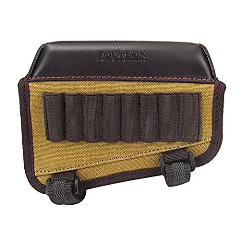 Tourbon Hunting Buttstock Cheek Riser Pouch Rifle Rest With Ammo Carrier Holder Canvas and Leather (Carrier Munizioni)
