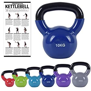 MSPORTS Kettlebell Professional Vinyl 2 – 30 kg inkl. Übungsposter Premium Kugelhantel