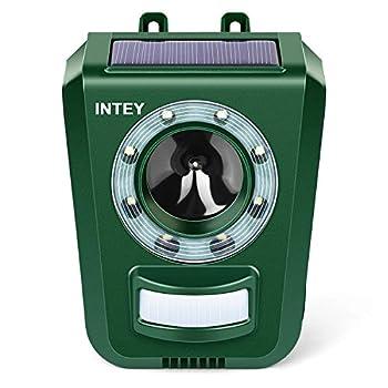 INTEY Répulsif Chat Ultrason Solaire Repulsif Chat Exterieur Sensibilité et Fréquence Réglable Ultrason Chat pour Repousser Animaux Nuisibles Protecteur de Jardin - 2019 Version
