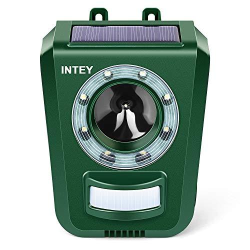 INTEY katzenschreck Ultraschall Solar & Batteriebetrieben Marderschreck Einstellbare Frequenz & Empfindlichkeit Wetterfest Katzenabwehr Tiervertreiber - Verstärkte