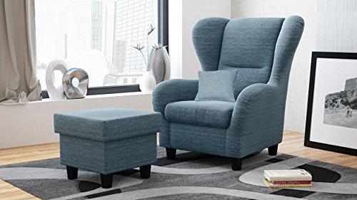 lifestyle4living Ohrensessel mit Hocker blau im Landhausstil | der Perfekte Sessel für Entspannte,...