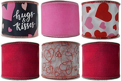 Geschenkband für Valentinstag, Draht, 6 Stück, je 6,3 cm x 0,9 m, Herzen, Küsse, Rot/Weiß/Pink Valentines Set A