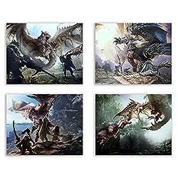 Crystal Monster Hunter World Prints-Rathalos-ajanath-nergigante-Set von Vier 8x 10Poster Wall Art Fotos