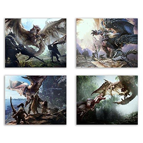 Crystal Monster Hunter World Prints-Rathalos-ajanath-nergigante-Set von Vier 8x 10Poster Wall Art Fotos - Print Art Canvas