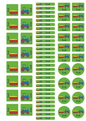 ckerbogen mit Schuhaufkleber für den Kindergarten mit Namen Traktor ()