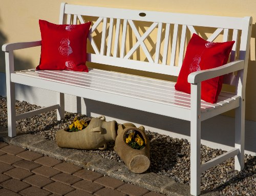 Landhausbank LÜBECK weiß lackiert, 3-Sitzer aus Eukalyptus 100% FSC, B 154 x H 89 x T 59 cm - 3