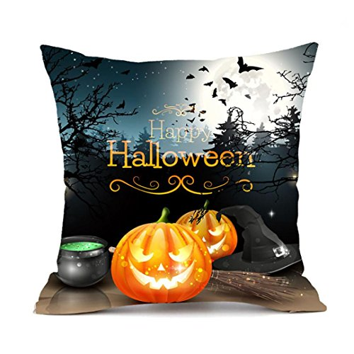JIANGFU Halloween Kissenbezug super weiches Material,Happy Halloween Kissenbezüge Leinen Sofa Kissenbezug Home Decor (H)