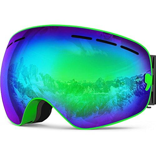 ZIONOR Lagopus X Motoneige Snowboard Ski Patinage Masques et lunettes avec détachable Lens et Grand Angle anti-buée Big sphérique professionnel unisexe Masque de ski (Vert)