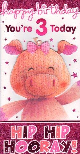 3 Carte d'anniversaire Motif Happy Birthday vous êtes 3 Aujourd'hui, Hip Hip Hourra. \