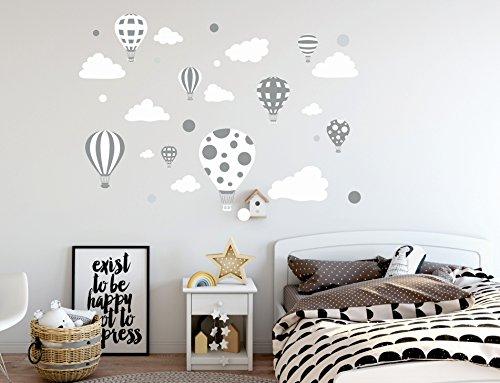 madras24 Etiqueta de la Pared Pegatinas de Pared Pegatinas para niños Globo Globos Nubes Nube Habitación para niños salón jardín de la Infancia Escuela decoración Sala de Estar (B23 XL)
