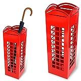 Bakaji Schirmständer aus Eisen, Design BAK10, Regenschirmständer quadratisch, Farbe rot in Form einer Londoner Telefonzelle, Maße 49 x 15,5cm