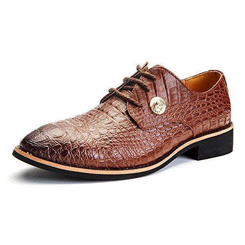 Men's Crocodile Pattern Lace Up Cowhide Oxford Shoes brown