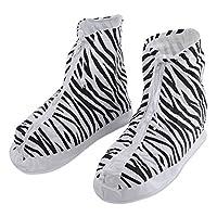 DealMux Unisex PVC Zebra-stripe Pattern Water Resistant Shoes Covers Overshoes Pair US 10.5