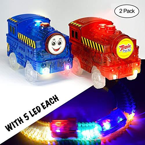 MIGE Tren Pista Coche Luz de Destello Tren Eléctrico Juguete Modelo Carro de Ferrocarril Coche de Juguete para Niños Niños y Niñas (Paquete de 2)