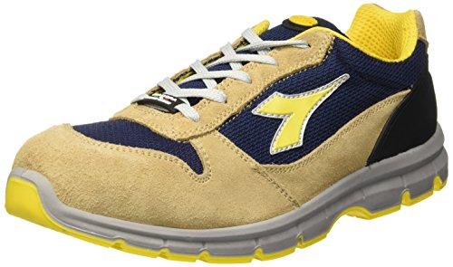 Diadora Run Textile Low S1P Src, Scarpe da Lavoro Unisex Adulto Giallo (Beige Corda/Blu Maiolica)