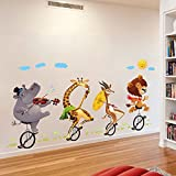 """#7: GoldenCart Safe Wall Stickers """"Jungle Cartoon Cute Animals Dance and Party under Smiling Sun and Clouds"""