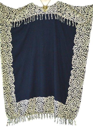 NIA Ladies Kaftan Beach Wear Clothes Womens Batik Long Tassels Fringe Ladies Womens Beach Loose Dress Cool (Black)