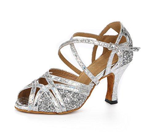 Honeystore Neuheiten Frauen's Pailletten Heels Absatzschuhe Moderne Latein-Schuhe mit Knöchelriemen Tanzschuhe LD0123 Silber 35 CN