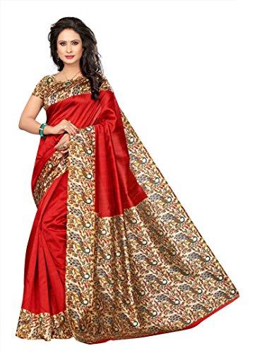 Winza Designer Silk Saree With Blouse Piece (KALAMKARI-K50_Beautiful Red_Free)